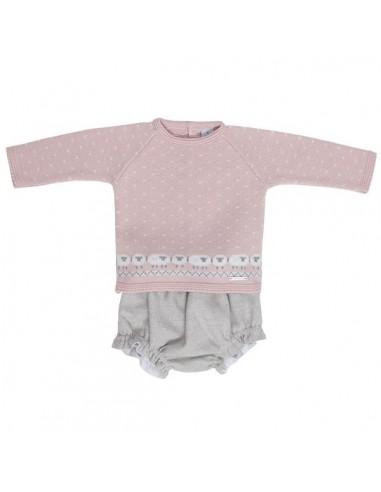 """Conjunto bebé dos piezas """"ovejas"""" en rosa empolvado"""